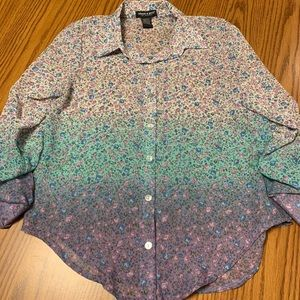 Sheer ombre floral button down blouse (SMALL)